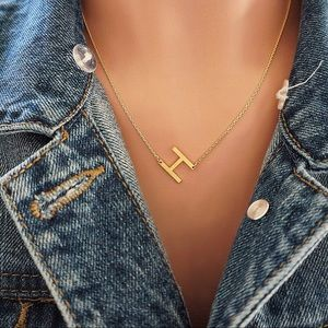 "Jewelry - Letter ""H"" Gold Initial Dainty Necklace"